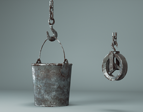 Bucket and pulley 3D model