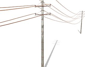3D model Electricity Pole 19 Weathered