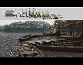 3D Boardwalk pier jetty floating dock kitbash for river 1