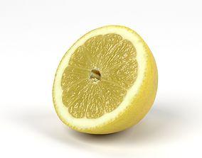 Photorealistic Lemon Half 3D Scan 3