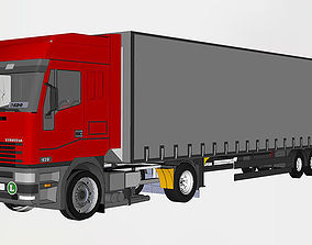 semi truck with trailer 3D model