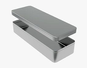 3D Metal tin can rectangular shaped