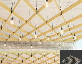 Wooden suspended ceiling 7 3D asset