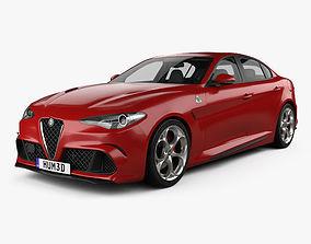 Alfa Romeo Giulia Quadrifoglio with HQ interior 3D model