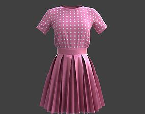 3D model pleated dress -skirt and top