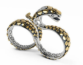 Knuckle Snake Ring 3D print model