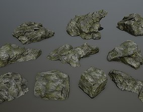 3D model cliff rock set 1