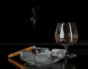 3D Whiskey with ashtray and cigar