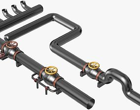 Black Industrial Pipes Model