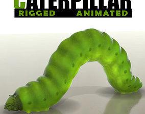 Green Caterpillar 3D asset