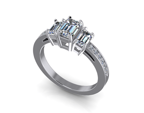 3D printable model Jewelry Emerald Solitaire Ring