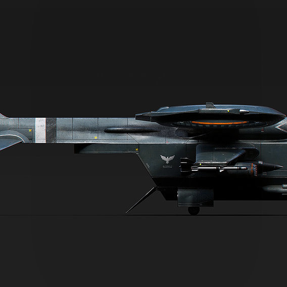 Helicopter Jet Airplane Spaceship Si-Fi Vehicle Space Fighter Low-poly