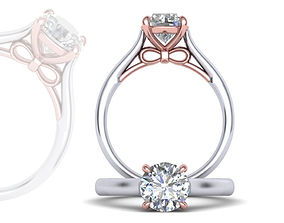 7mm 4prong Bow design Classic Engagement ring 3dmodel