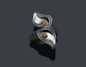 Calla Lily ring with gems 3D print model
