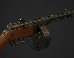 3D asset PBR Soviet Submachine Gun PPSH-41