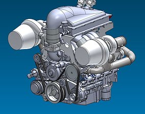 3D model Supercar System Powertrain Assembly Stage 4