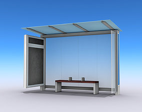 Bus Shelter 3D model rigged