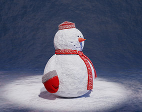 Snowman with a red skullcap 3D model