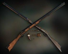 Lowpoly PBR Plains Precussion Rifle 3D model