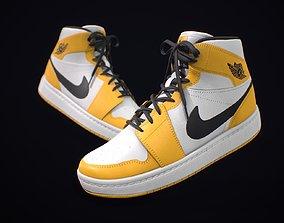 Sneaker Nike Air Jordan White Yellow Black 3D model