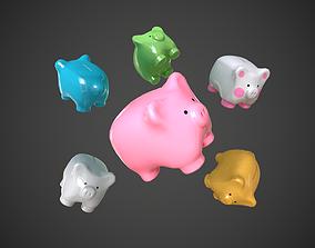 Piggy Bank Ceramic Money Box 3D asset