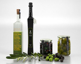 3D liquid Olive Oil set