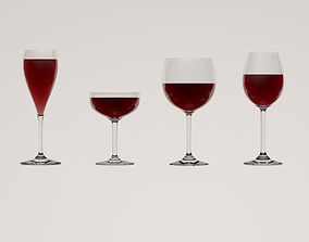 champagne Wine Glasses 3D model