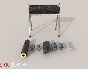 3D model Game Ready Grill Set D180302