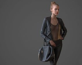 Girl posing with bag and jacket 3D asset
