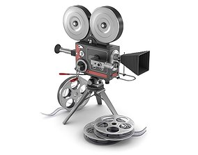 Vintage movie camera and film 3D