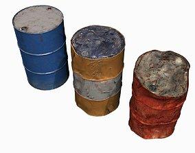3D model Low Poly 55 Gallon Drums