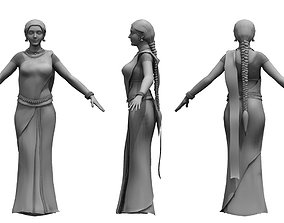 character saree india girl woman 3d model