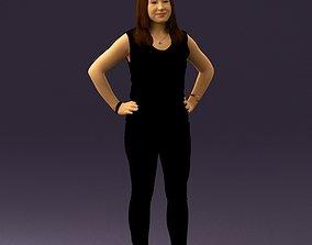 3D print model Woman in black brown long hair 0560