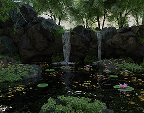3D Waterfall Scene