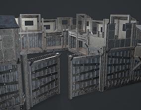 Post-Apocalypse Modular Metal Defensives 3D model