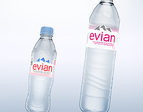 Pack of 2 bottle Evian 50cl and 150cl 3D drops