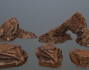 rock set 3D asset VR / AR ready