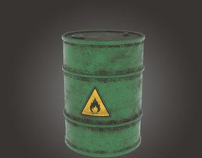 3D model game-ready Metal Barrel