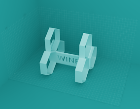 3D printable model winerack - 3bottles - honey