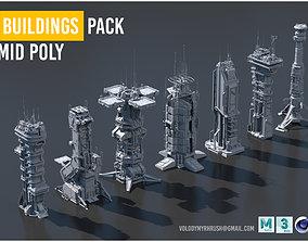 3D model Scifi Futuristic Military buildings 1