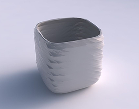 Vase quadratic stumpy with rocky fibers 3D print model