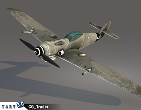 low-poly lowpoly WW2 FW 190 fighter aircraft 3d model