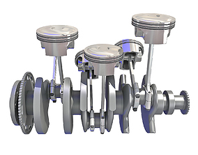 3D V6 Engine Cylinders