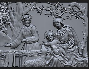 3D print model Jesus Birth with Mary and Joseph bas 2