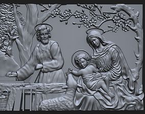 Jesus Birth with Mary and Joseph bas 3D printable model 2