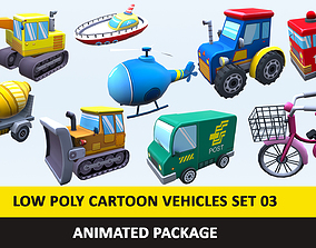 Animated Toy Cartoon Cute Vehicles Low Poly 3D model 4