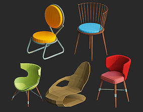 low poly chairs 3d models pack for game VR / AR ready