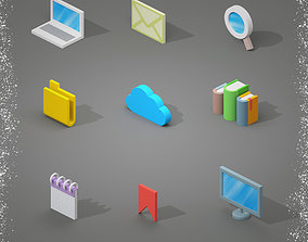 low-poly Isometric Icons 3D Model 01