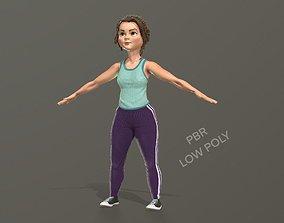 3D model Cartoon girl in sportswear and sneakers