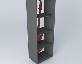 Red guitar shelf ROCK Maisons du Monde 3D